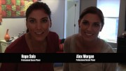 Hope Solo and Alex Morgan in a commercial for Just Dance video game