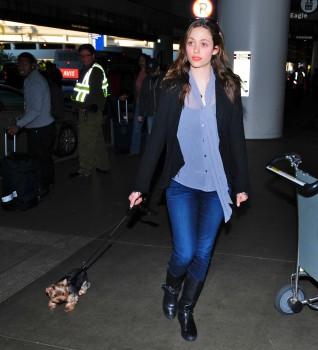 Эмми Россам, фото 3303. Emmy Rossum Looks Great with Her Dog LAX 2/17/12, foto 3303